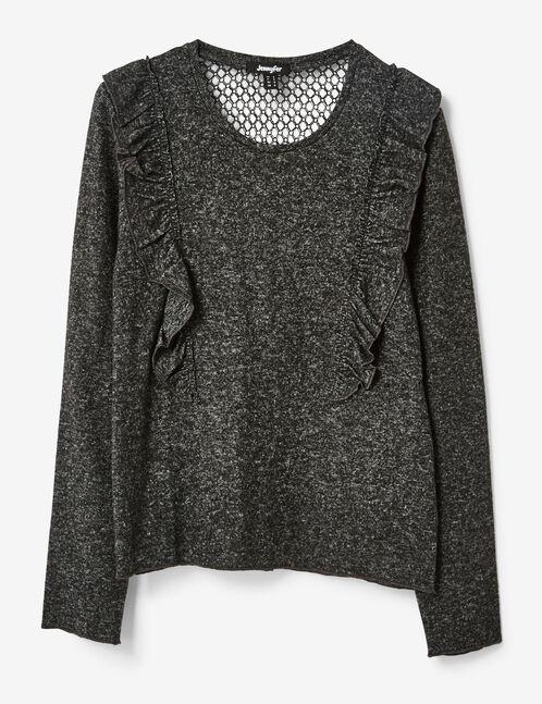 tee-shirt à volants gris anthracite chiné