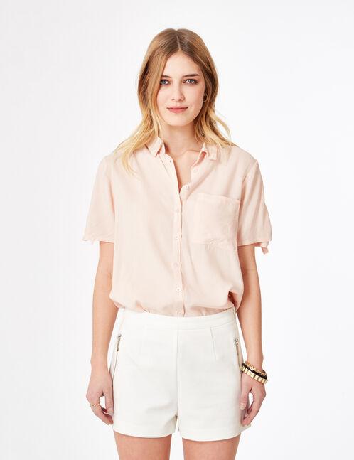 Cream tailored shorts