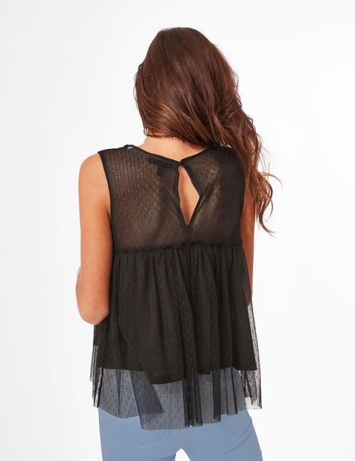 Black dobby spot-effect blouse