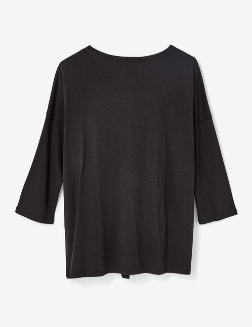tee-shirt lien effet corset noir