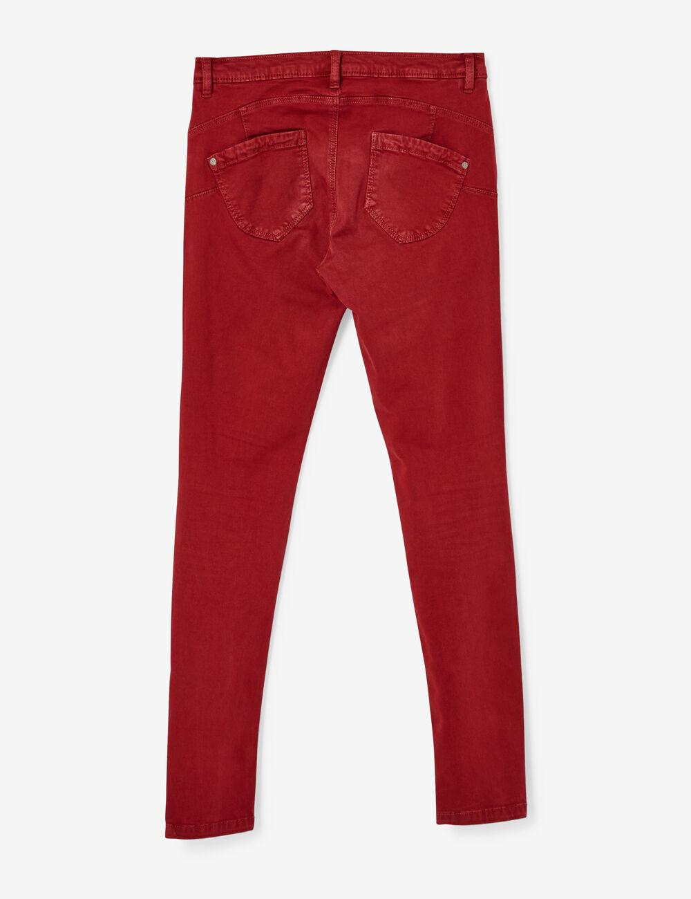 pantalon skinny push up rouge fonc femme jennyfer. Black Bedroom Furniture Sets. Home Design Ideas