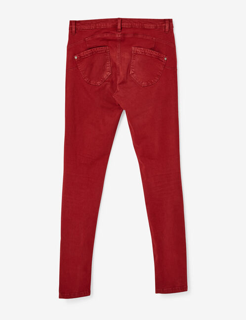 pantalon skinny push-up rouge foncé