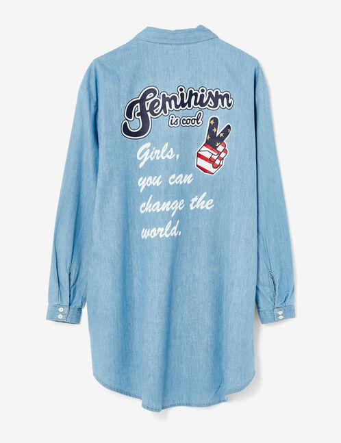 chemise longue en jean bleu clair