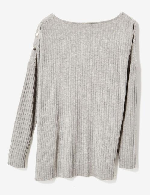 tee-shirt détails boutons gris chiné