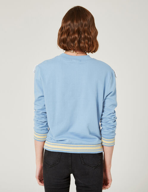 Light blue sweatshirt with lace detail