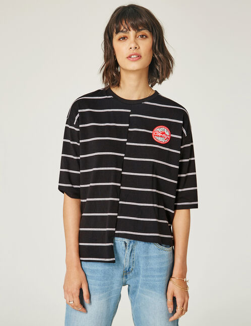 tee-shirt asymétrique rayé noir et blanc