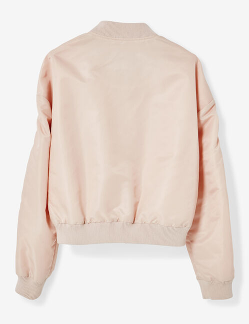 Light pink bomber jacket with buckle detail