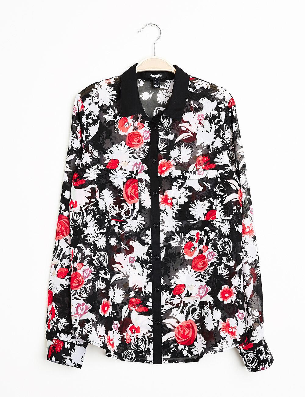 chemise mousseline imprim fleuri rouge et blanche femme jennyfer. Black Bedroom Furniture Sets. Home Design Ideas