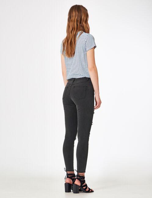pantalon skinny destroy noir