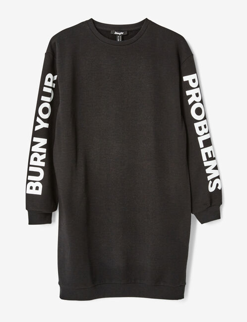robe sweat à message noire