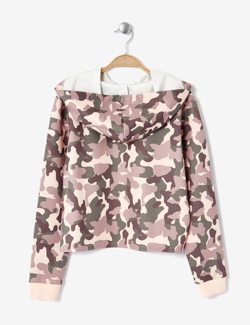 sweat néoprène camouflage kaki et rose clair