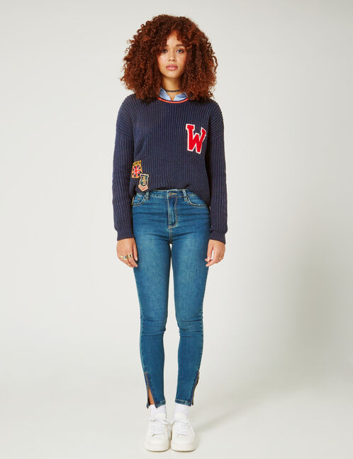 jean super skinny taille haute medium blue