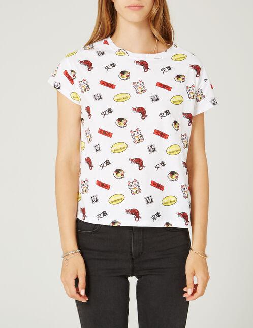 White mixed print T-shirt