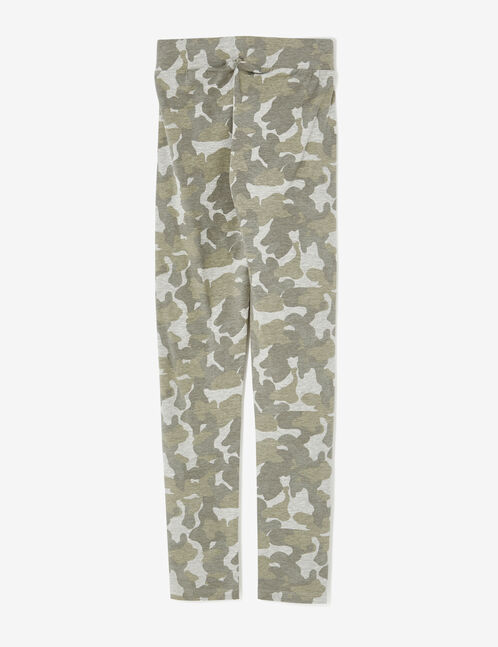Basic khaki and grey camouflage print leggings