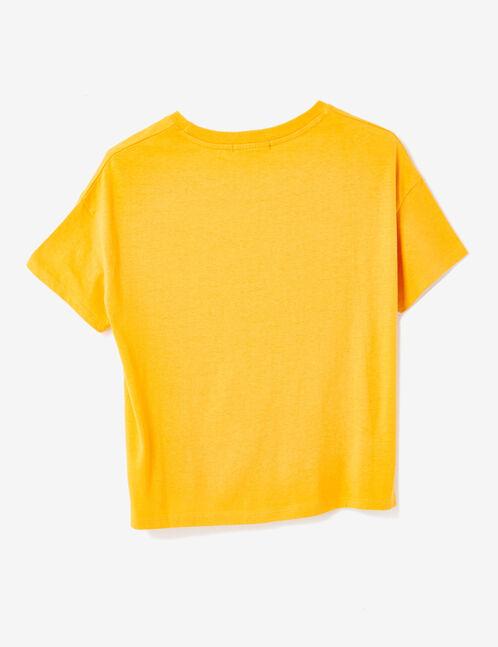 Ochre T-shirt with text design detail