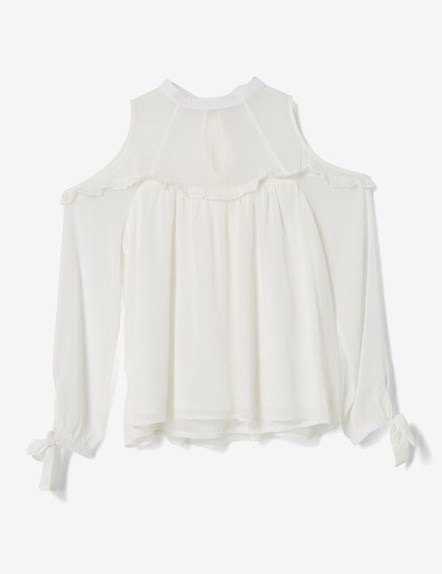 Cream blouse with tie detail
