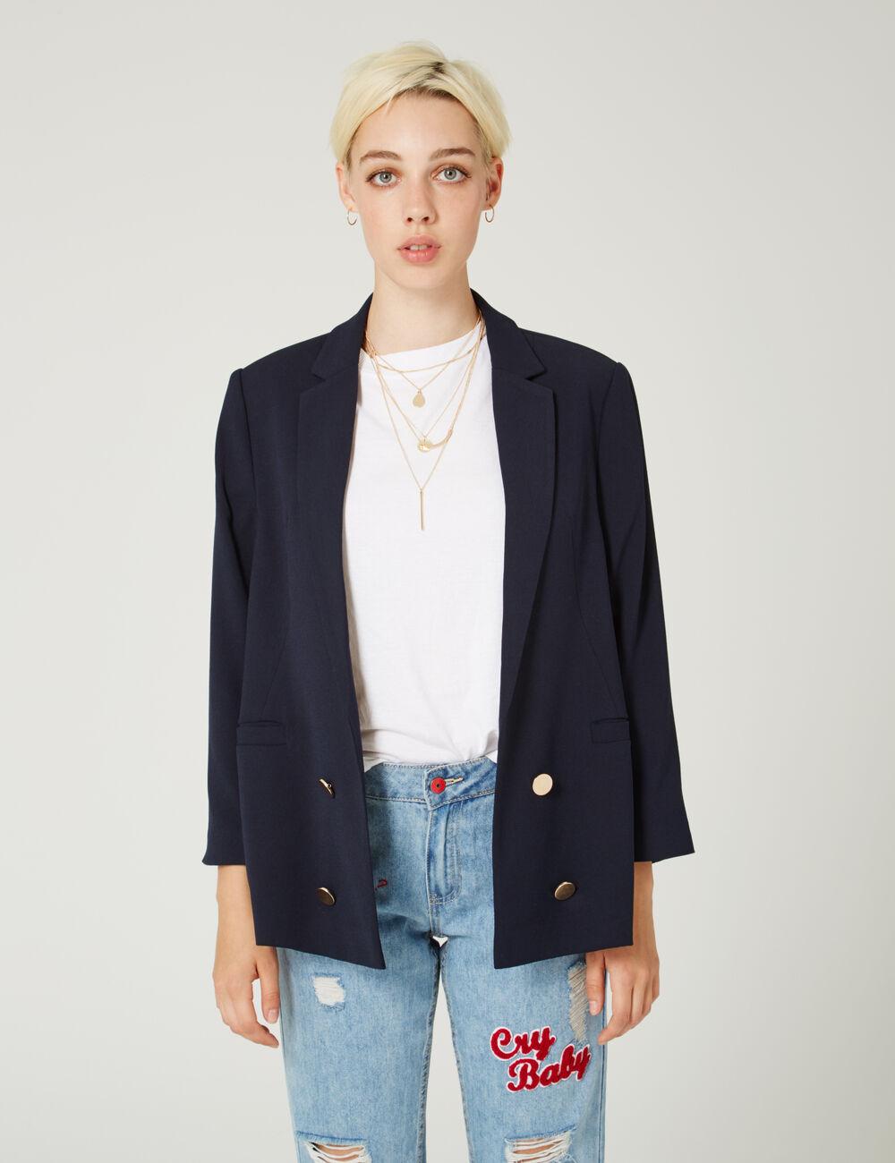blazer long boutons bleu marine femme jennyfer. Black Bedroom Furniture Sets. Home Design Ideas