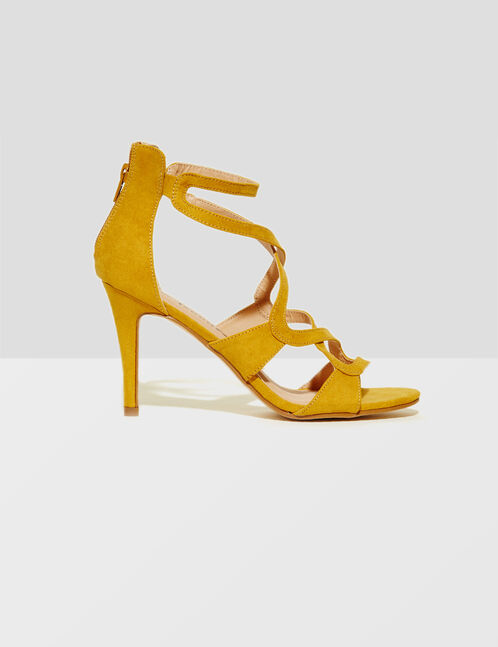 Yellow heeled sandals
