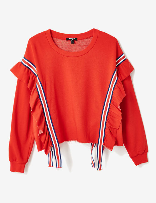Red sweatshirt with stripe and frill details