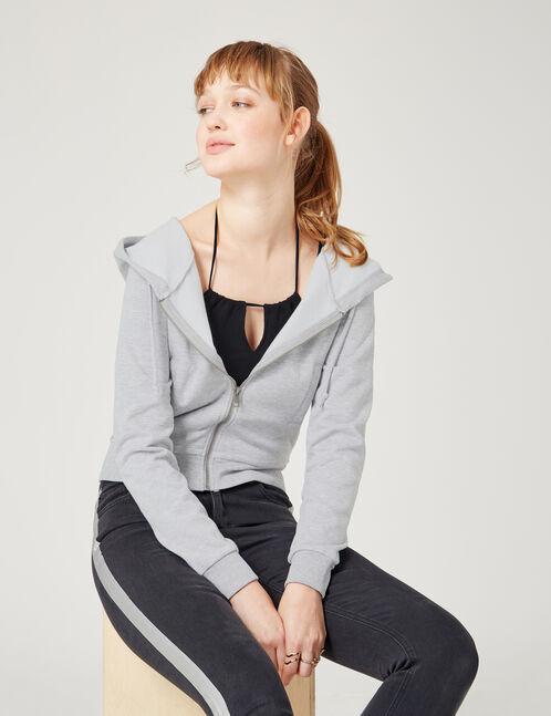 sweat court zippé gris chiné