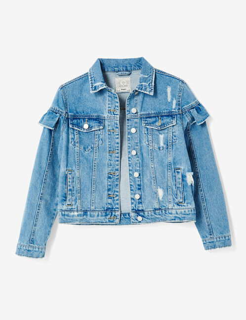 veste en jean avec volants medium blue