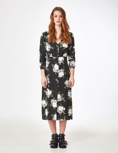 robe longue fleurie noire