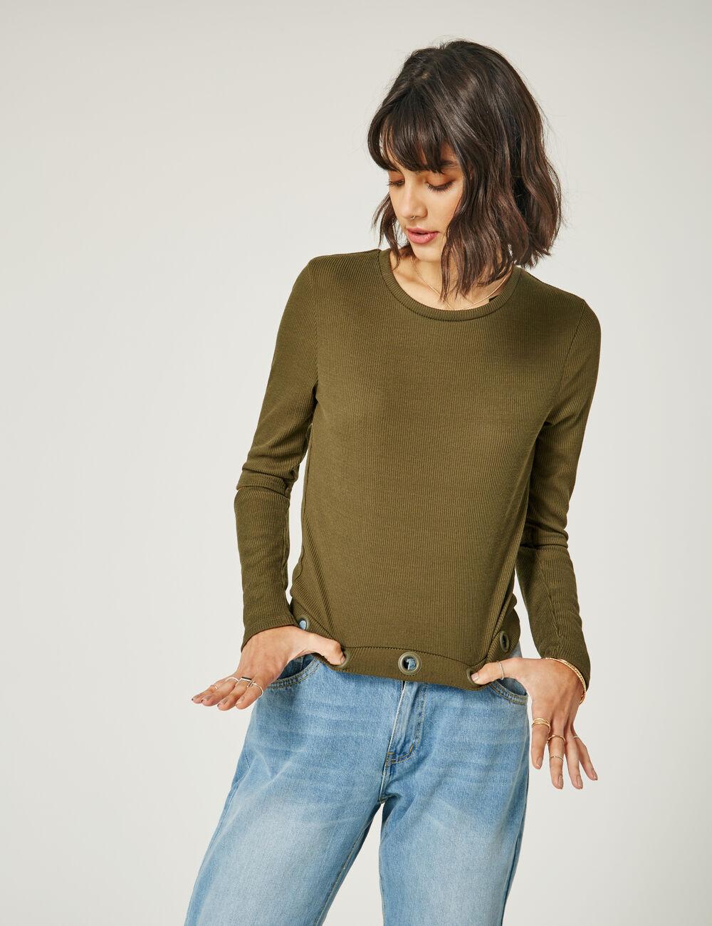 tee shirt avec oeillets kaki femme jennyfer. Black Bedroom Furniture Sets. Home Design Ideas