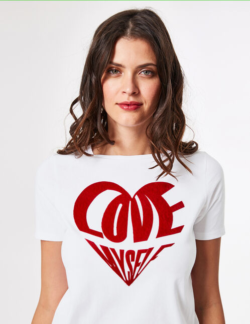 White T-shirt with textured text design detail