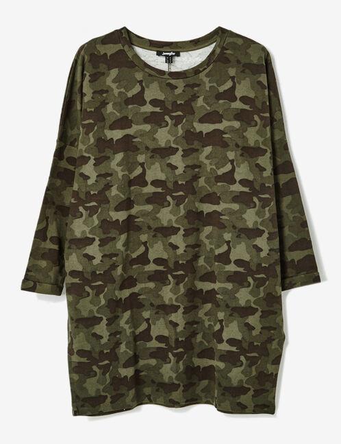 Khaki camouflage jersey dress