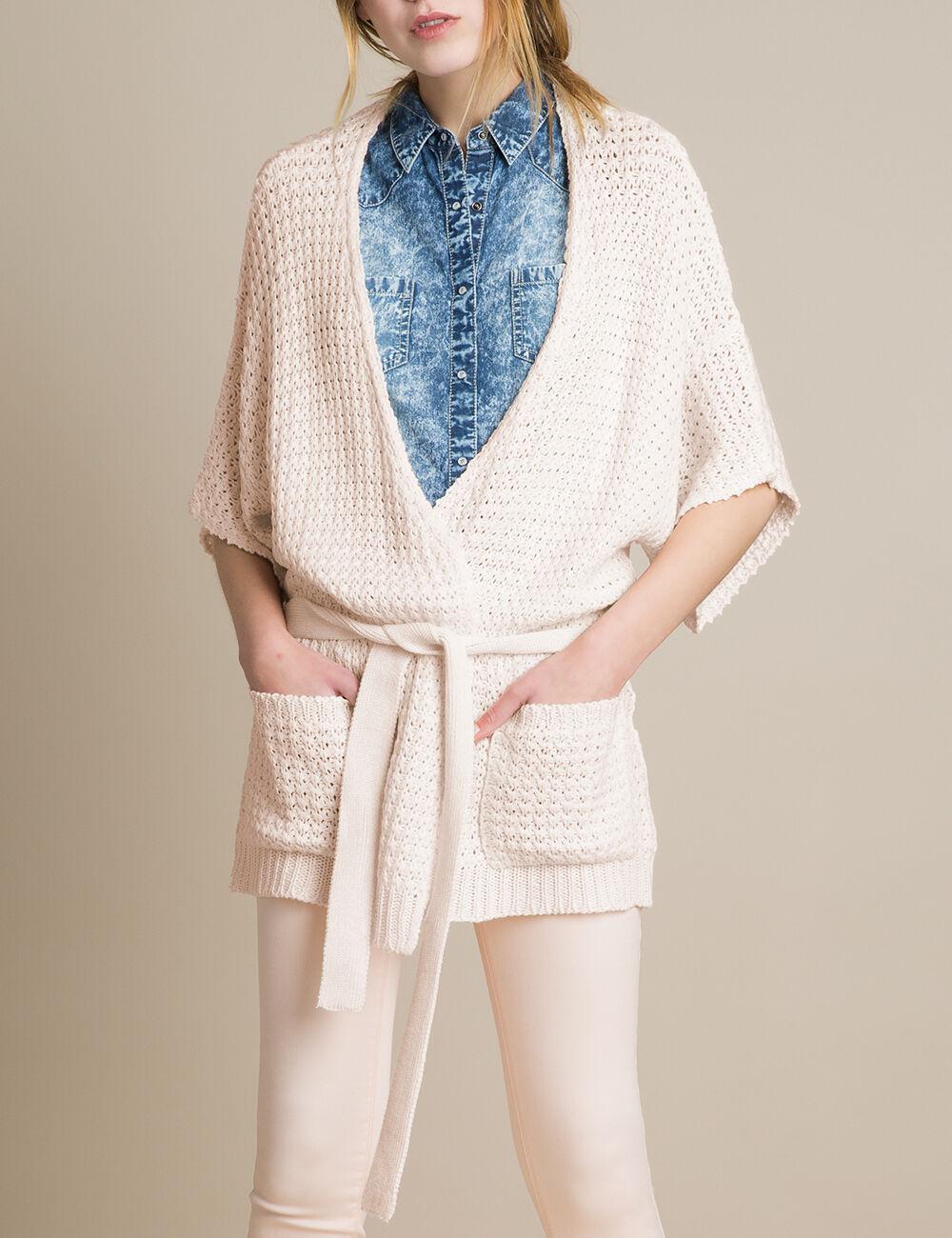 gilet kimono rose clair femme jennyfer. Black Bedroom Furniture Sets. Home Design Ideas