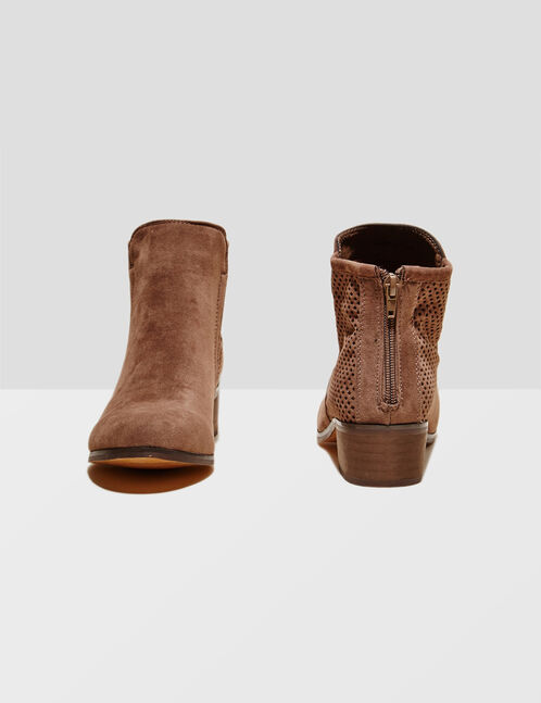 Light brown faux suede and mesh boots