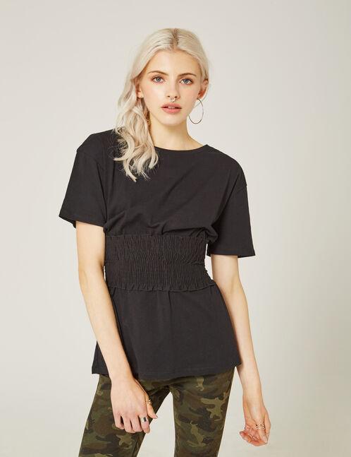 tee-shirt à ceinture smockée noir