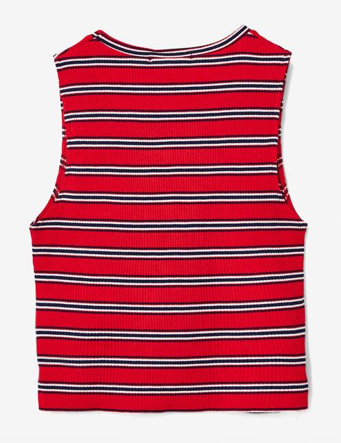 Red striped crop top