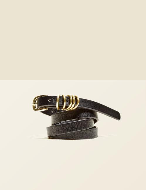 ceinture multi boucles noire