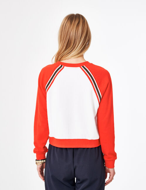 Red and white two-tone sweatshirt with text design detail