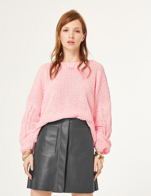pull chenille loose rose clair