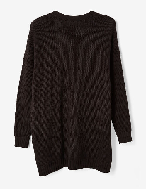 Black textured open cardigan