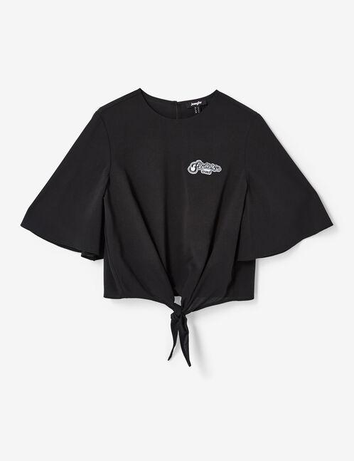 Black tie-fastening blouse