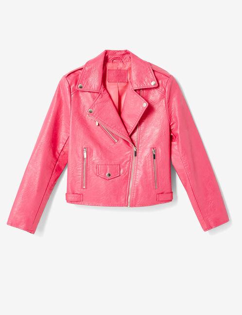 Fuchsia biker jacket with zip detail