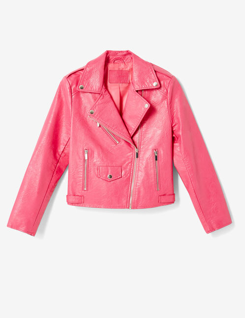Fuchsia biker jacket with zip detail