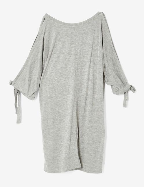 tee-shirt manches ouvertes gris chiné
