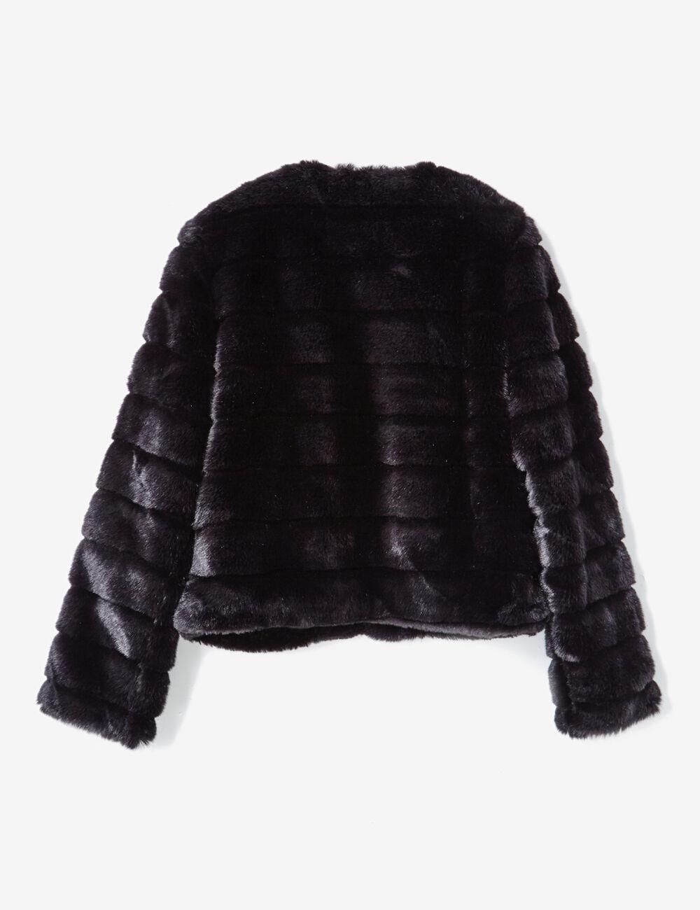 veste imitation fourrure noire femme  u2022 jennyfer