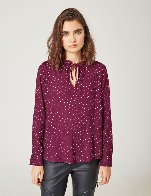 Purple polka dot blouse