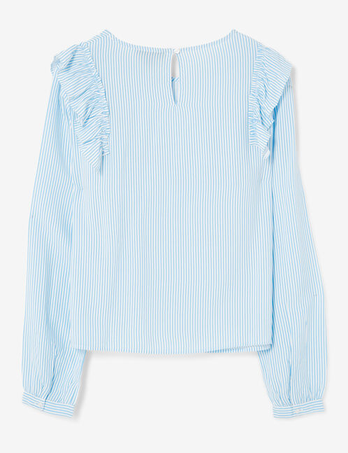 Cream and blue striped blouse