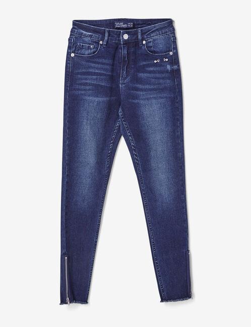 jean skinny détail piercing bleu foncé