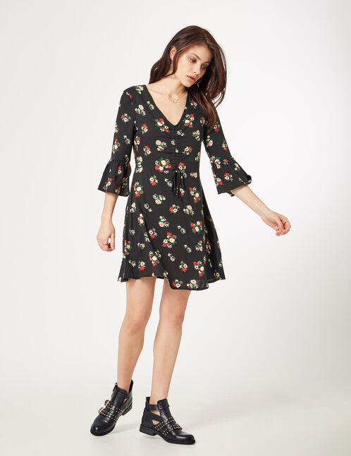 Black floral dress with ruched detail