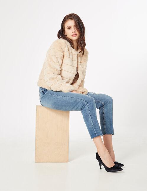 Beige faux fur jacket