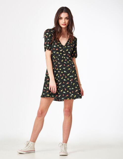 Black floral flared dress