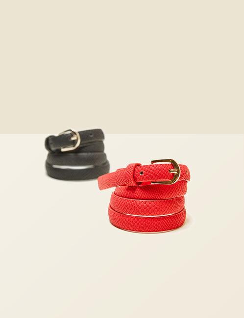 Black and red snakeskin-effect belt