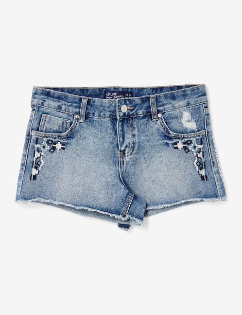 short en jean avec broderies medium blue